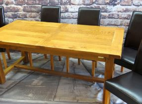MODERN RUSTIC-STYLE ELM EXTENDING DINING TABLE and SIX MODERN CHAIRS, table with cleated ends, 260cm