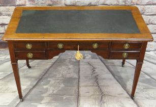 LATE 19TH CENTURY MAHOGANY WRITING TABLE, green rexine inset writing surface above arrangement of
