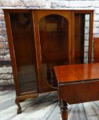 EDWARDIAN MAHOGANY CHINA CABINET, with chequer stringing, 124cm wide