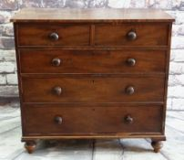 VICTORIAN WALNUT CHEST, fitted two short and three long drawers, 111 x 53 x 105cms Condition Report: