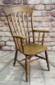 19TH CENTURY LATHE BACK ARMCHAIR, with elm seat