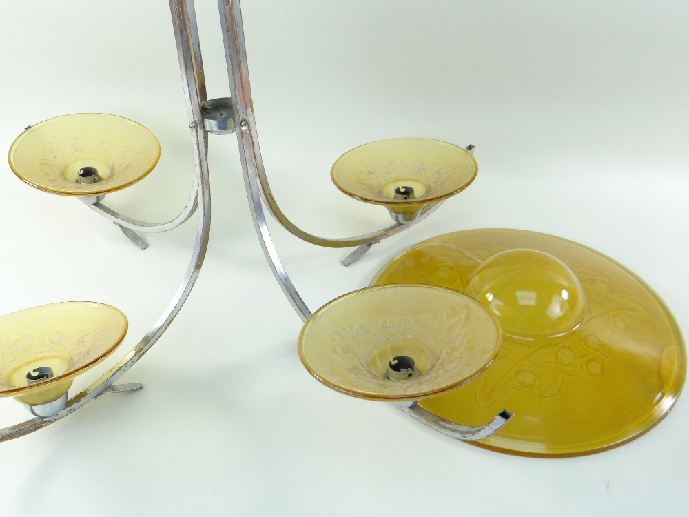 THREE CONTINENTAL LIGHTS, comprising a chrome and amber glass ceiling lamp with four branches, - Image 3 of 5