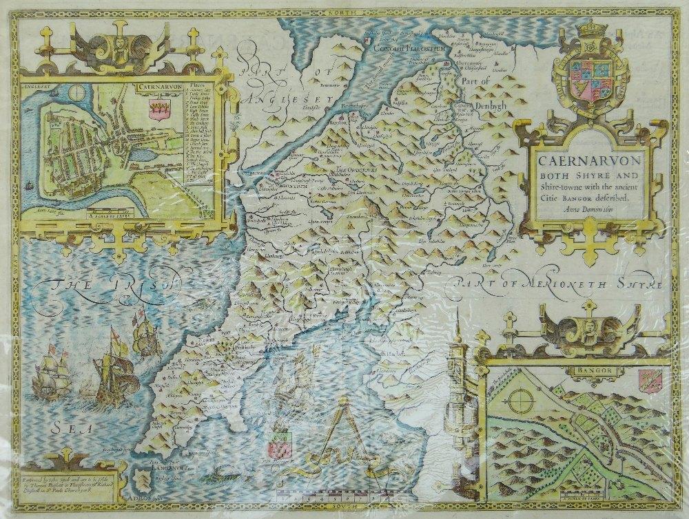 JOHN SPEED antique map of Caernarvon (Bassett & Chiswell) 1676, modern coloured, 41 x 53.5cms,