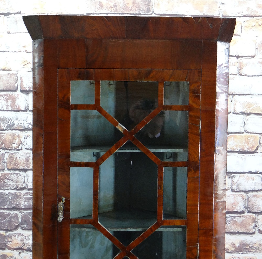 19TH CENTURY MAHOGANY STANDING CORNER CABINET with angled cornice and astragal glazed doors, blue - Image 6 of 7