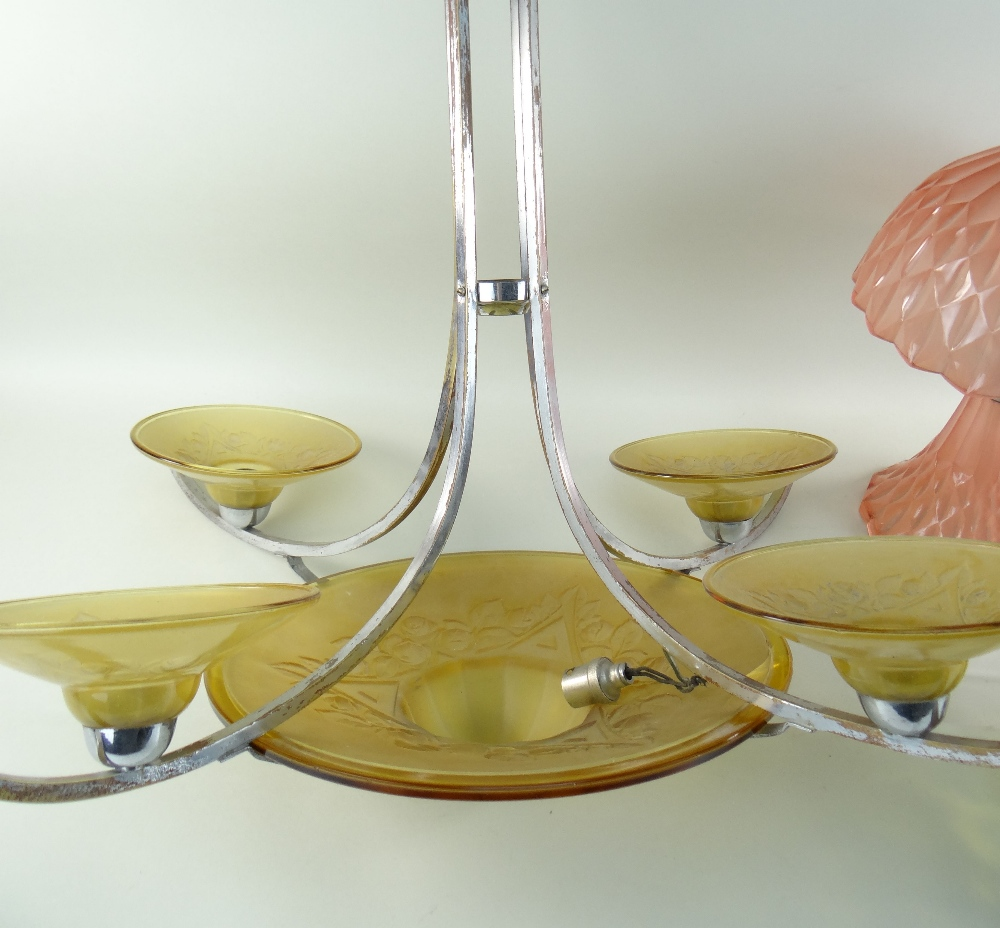 THREE CONTINENTAL LIGHTS, comprising a chrome and amber glass ceiling lamp with four branches, - Image 5 of 5