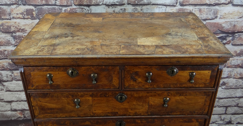 QUEEN ANNE WALNUT & BURR WALNUT CROSSBANDED CHEST ON STAND, veneered top and cornice above two short - Image 2 of 44