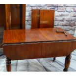 VICTORIAN PATENT MAHOGANY DROP-FLAP EXTENDING DINING TABLE, two extra leaves in stored in the