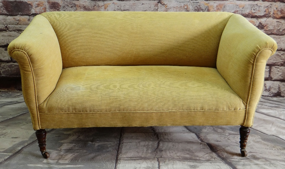 VICTORIAN WALNUT TWO-SEATER SOFA, later yellow ribbed upholstery, turned legs, castors 142 x 70cms