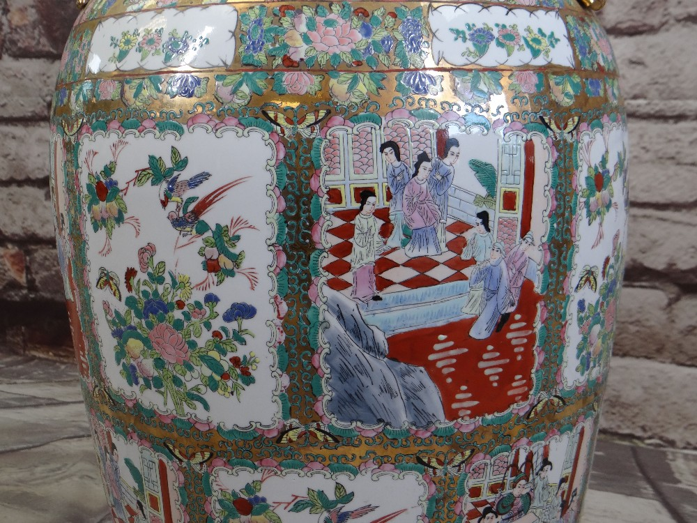 LARGE MODERN CHINESE CANTON FAMILLE ROSE FLOOR VASE, gilt handles, panels decorated with Manchu - Image 3 of 4