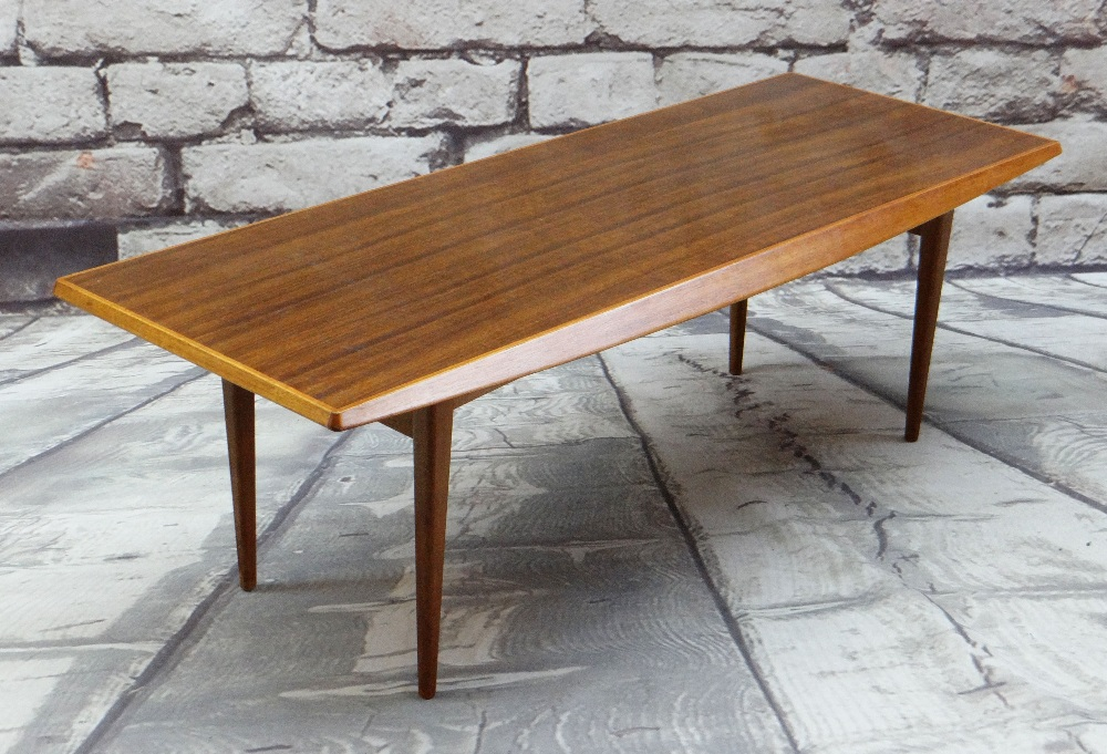 GORDON RUSSELL ROSEWOOD MID-CENTURY COFFEE TABLE, angled sides and tapering legs, 122 x 44cms
