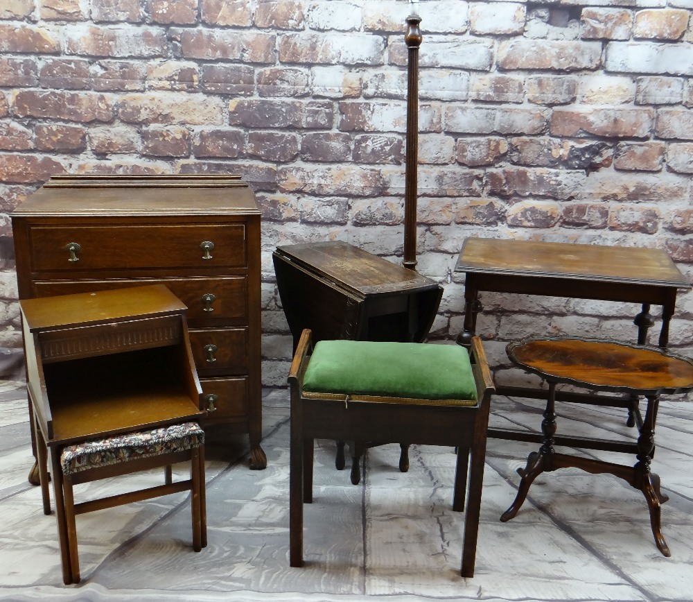 ASSORTED OCCASIONAL FURNITURE including four drawer chest, oak gateleg table, a standard lamp,
