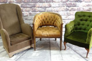 THREE VINTAGE EASY CHAIRS, two button-upholstered, the wingback with Arts & Crafts style carved feet