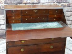 ANTIQUE MAHOGANY BUREAU, later angled fall enclosing a fitted interior of drawers above