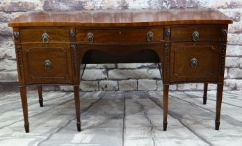 GEORGE III-STYLE SERPENTINE MAHOGANY SIDEBOARD, shaped top above two frieze drawers, cellarette