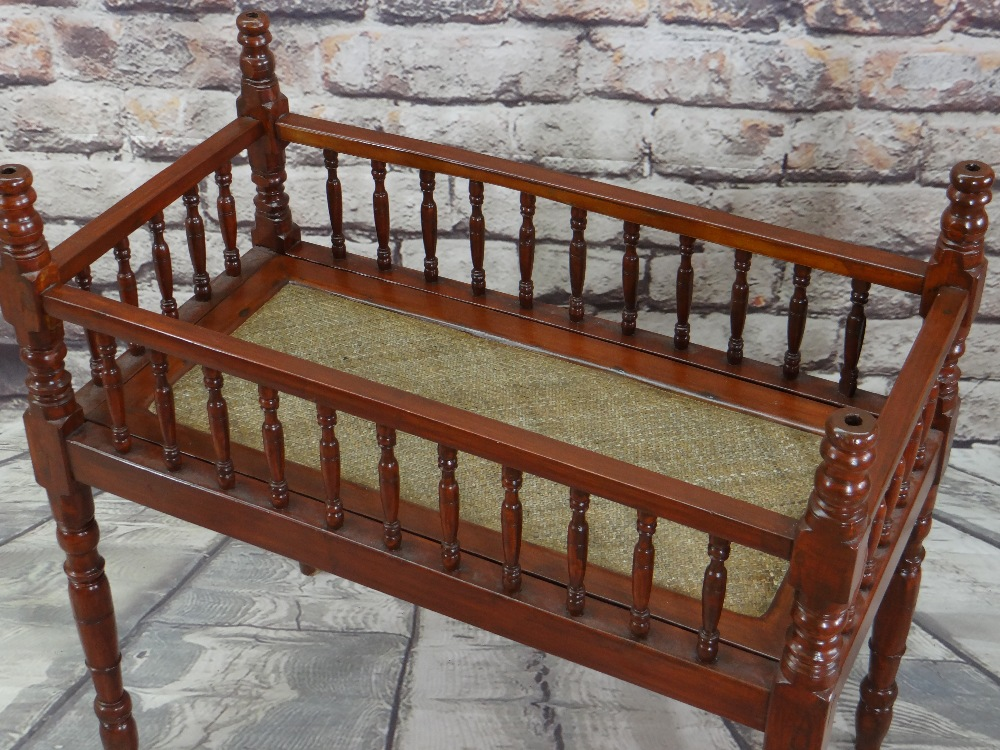 CHINESE SOFTWOOD COT or CRIB, with rattan woven base, 92 x 60cms - Image 2 of 3