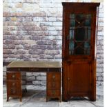 19TH CENTURY MAHOGANY STANDING CORNER CABINET with angled cornice and astragal glazed doors, blue
