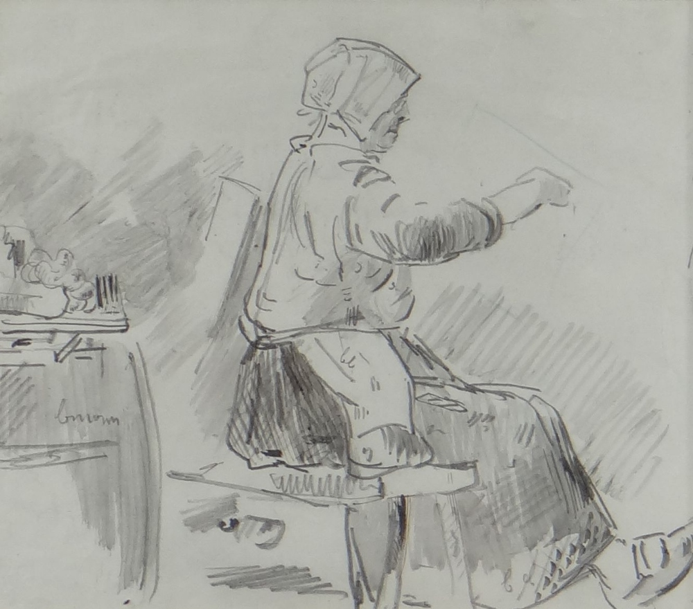 LOUIS MARIE FOUDAQ (French, 1840-1914) pencil - two figurative drawings with annotations, 20 x 22cms - Image 2 of 3