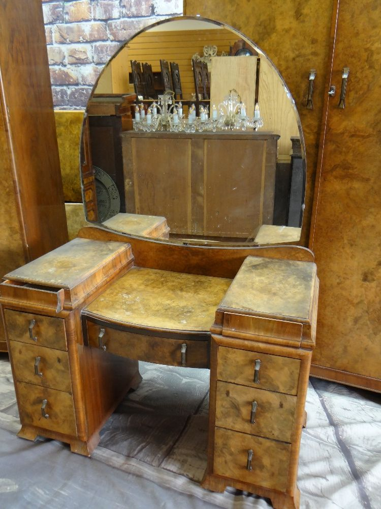 1930s BURR WALNUT BEDROOM SUITE, including pair of wardrobes, dressing table and single bed (4) - Image 2 of 5