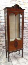 EDWARDIAN WALNUT & MAHOGANY NARROW CHINA CABINET with shaped cornice, astragal glazed door, glazed
