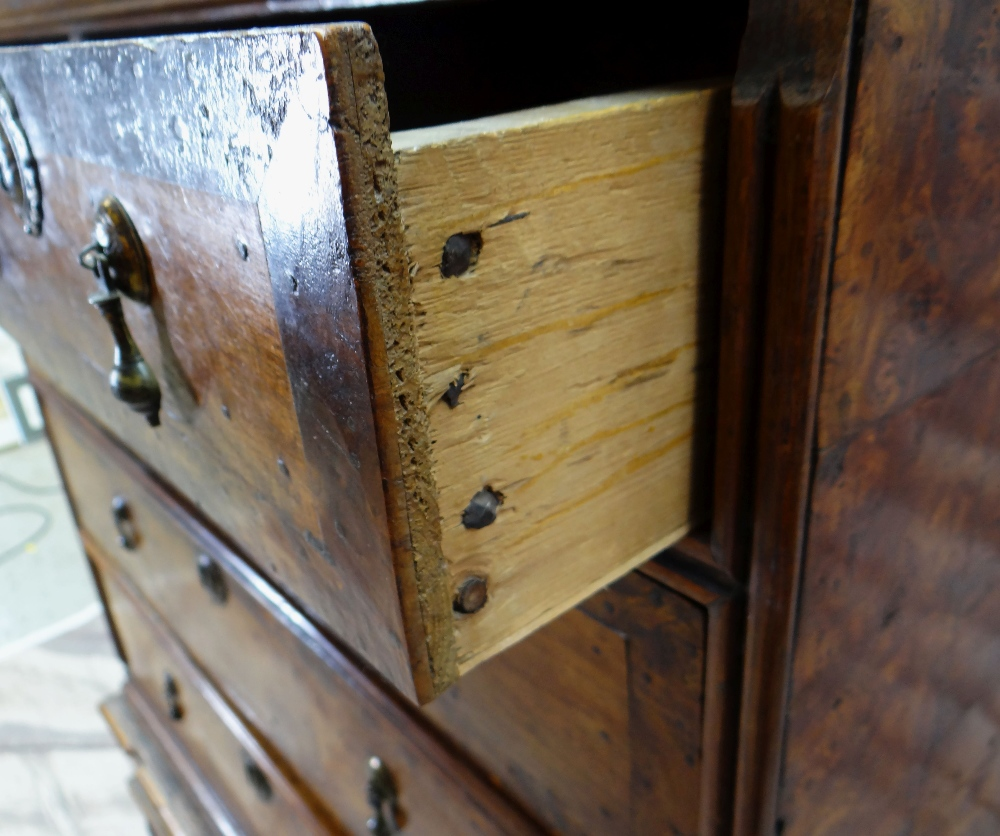 QUEEN ANNE WALNUT & BURR WALNUT CROSSBANDED CHEST ON STAND, veneered top and cornice above two short - Image 3 of 44