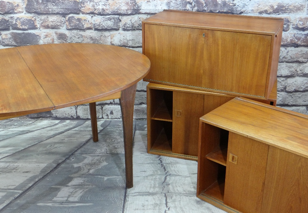 POUL CADOVIUS RIO TEAK MODULAR WALL CABINETS & A TEAK DINING TABLE, cabinets with wall rails,
