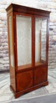 MODERN DISPLAY CABINET, with oval panelled doors below, glass shelves, 96 x 38 x 187cms Condition: