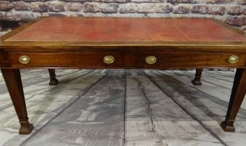 VICTORIAN-STYLE MAHOGANY WRITING TABLE, red leather inset top above two frieze drawers, tapering