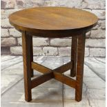 ARTS & CRAFTS STICKLEY-STYLE JOINED OAK TABLE, circular with four uprights and X-stretcher, ebony