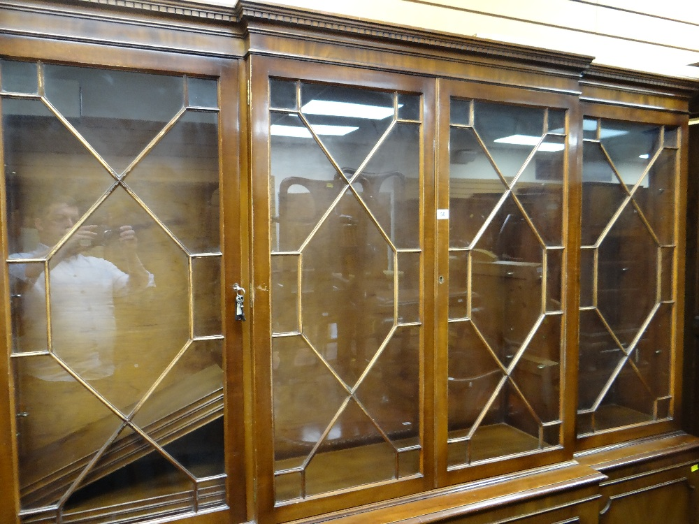 MODERN REPRODUCTION GEORGIAN-STYLE BREAKFRONT BOOKCASE, 196 x 36 x 201cms Condition: generally - Image 4 of 12