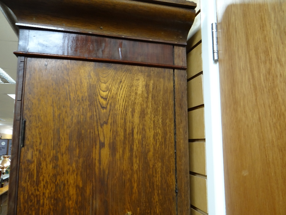 VICTORIAN OAK & MAHOGANY LINEN PRESS, ogee cornice and plain frieze above arched panelled doors, - Image 12 of 13