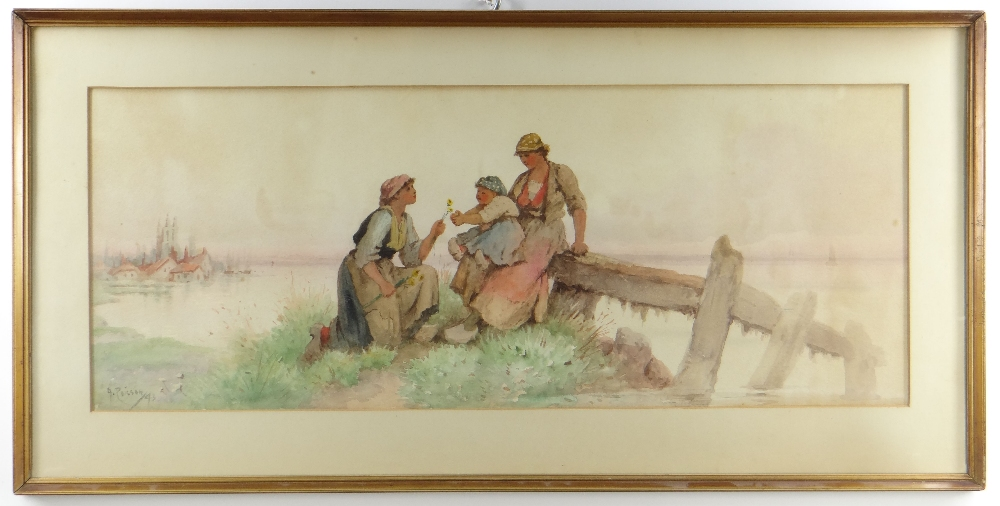 MADELEINE HUGHES watercolour - Dutch women and baby in a watery landscape, signed with pseudonym 'A.