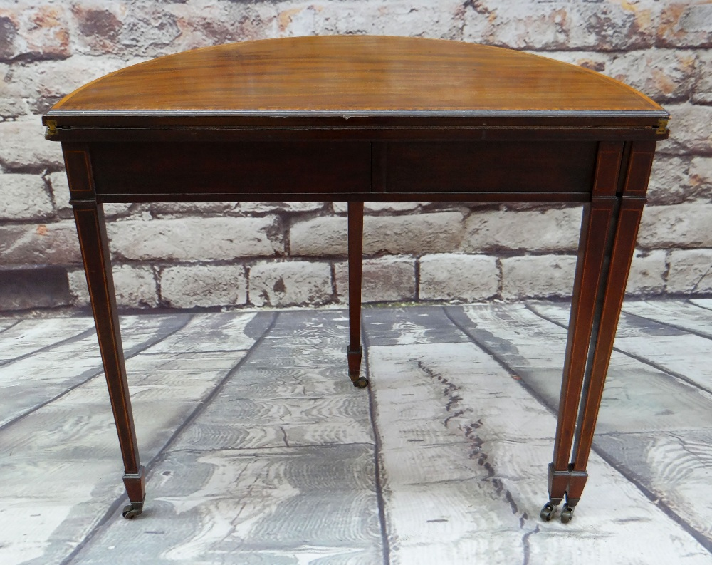 GEORGE III-STYLE MAHOGANY, SATINWOOD CROSSBANDED & BOXWOOD STRUNG CARD TABLE, of demi lune form, - Image 5 of 5
