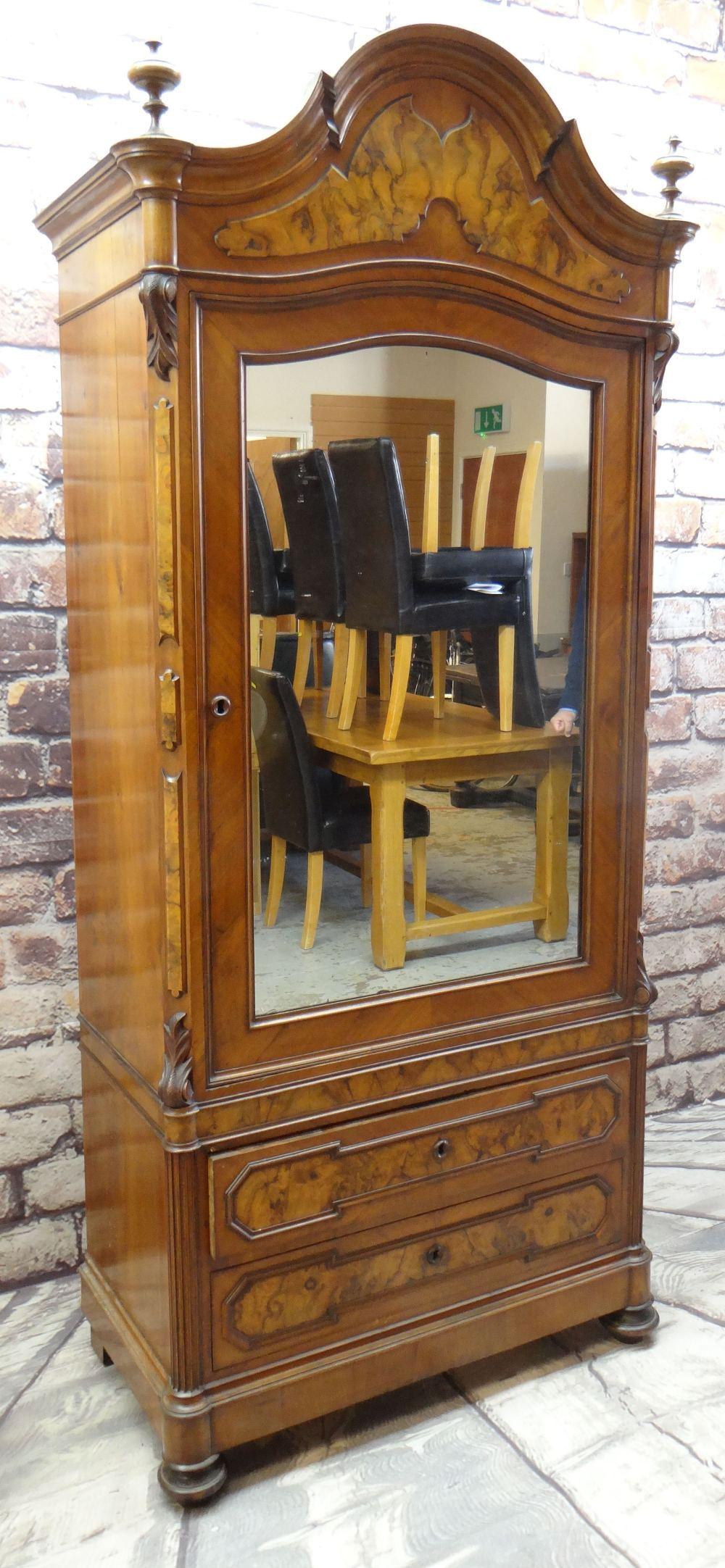 STYLISH FRENCH WALNUT & BURR WALNUT ARMOIRE, arched cornice with turned finials, mirror-glazed - Image 2 of 7