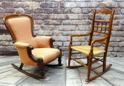 TWO ROCKING CHAIRS, comprising a William IV walnut armchair and a 19th Century style rush seated