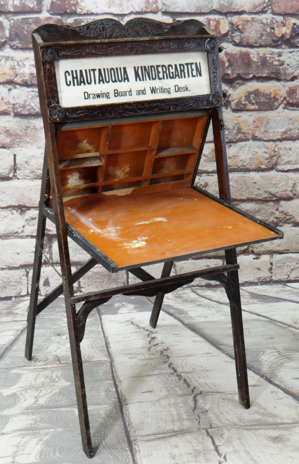 AMERICAN CHAUTAUQUA KINDERGARTEN DRAWING BOARD & WRITING DESK, early 20th century, with revolving - Image 2 of 6