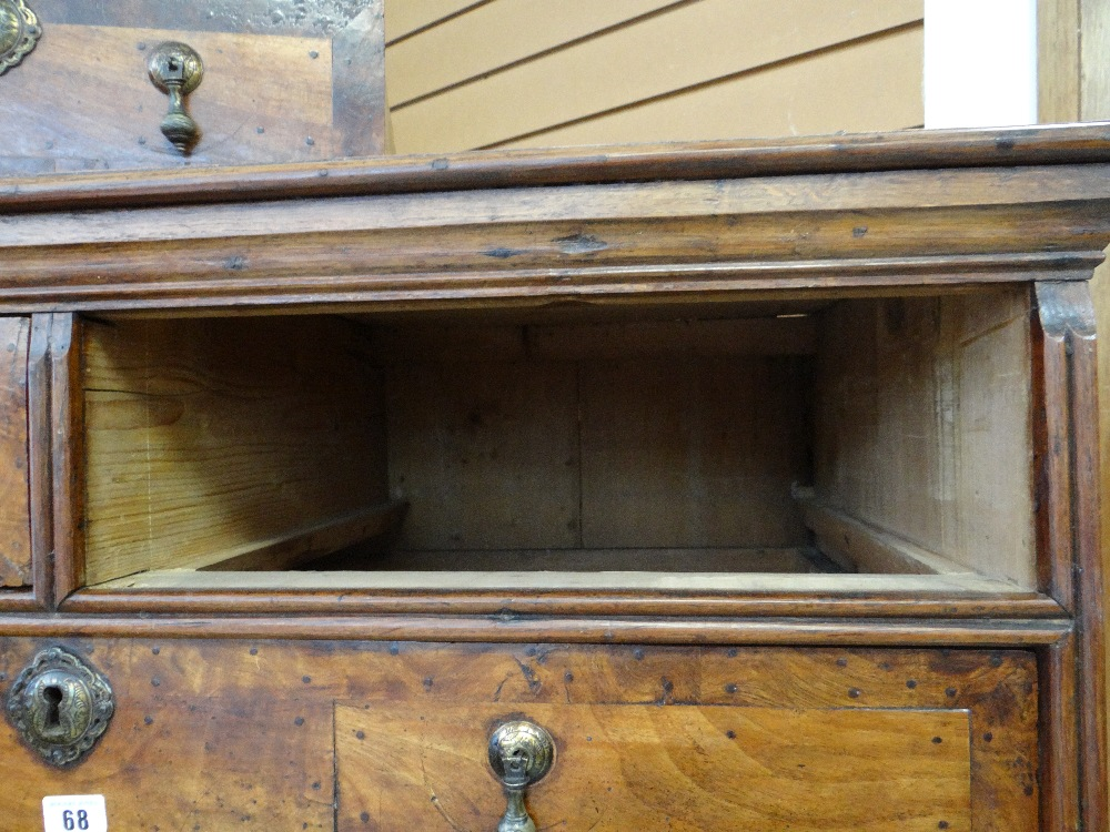 QUEEN ANNE WALNUT & BURR WALNUT CROSSBANDED CHEST ON STAND, veneered top and cornice above two short - Image 26 of 44