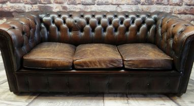REPRODUCTION VICTORIAN-STYLE BROWN LEATHER CHESTERFIELD SOFA, three loose seat cushions, close