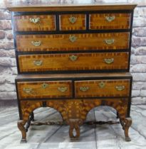 WILLIAM & MARY JOINED OAK, WALNUT CROSSBANDED, PARCEL EBONISED AND MARQUETRY CHEST ON STAND, elm