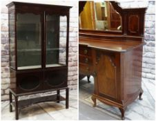 EARLY 20TH CENTURY FURNITURE comprising mahogany china cabinet with shaped doors and glazed sides,
