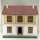 VINTAGE DOLLS HOUSE, with red tiled roof, brick and pebble-dash painted sides and front, with