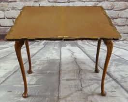 REPRODUCTION QUEEN ANNE-STYLE BURR WALNUT FOLD-OVER CARD TABLE, the shaped top with brown baize