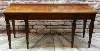 GOOD 19TH CENTURY REGENCY STYLE MAHOGANY & EBONY STRUNG SERVING TABLE, rectangular top with low