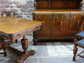 ELIZABETHAN-STYLE GOLDEN OAK DINING SUITE, comprising draw leaf dining table, with moulded edge,