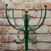 CONTINENTAL PAINTED WROUGHT IRON HAT STAND with gilt ball finials, later gold and green paint,