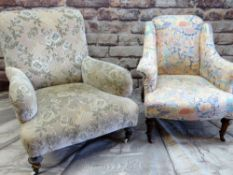 TWO VICTORIAN EASY CHAIRS, one with pink floral printed fabric, the other green and caramel velure