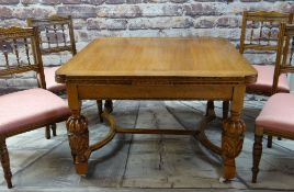 ELIZABETHAN-STYLE GOLDEN OAK DRAW-LEAF DINING TABLE & FOUR SIMILAR CHAIRS, moulded edge and carved