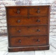 LATE VICTORIAN WALNUT CHEST, fitted two short and three long drawers, turned handles, plinth base,