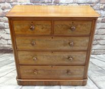 VICTORIAN MAHOGANY CHEST, fitted two short and three long graduated drawers, on plinth with
