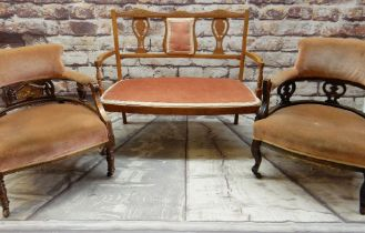 THREE ASSORTED SALON SEATS IN PINK VELURE/DRAYLON UPHOLSTERY, comprising settee and two chairs,