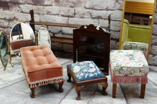 ASSORTED OCCASIONAL FURNITURE, including three footstools, dressing table triple mirror, narrow wall